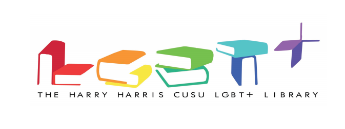 "The Harry Harris library logo. Rainbow books arranged to look like ""LGBT+"" are above the words ""Harry Harris CUSU LGBT+ Library"" in black, on a white background."