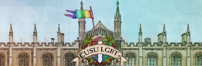 "The CUSU LGBT+ banner logo. There is a drawing of a university building against a blue sky, and the building is flying a rainbow flag. In the centre there is a rainbow crest of arms of the University, with a banner with the words ""CUSU LGBT+"" on it."