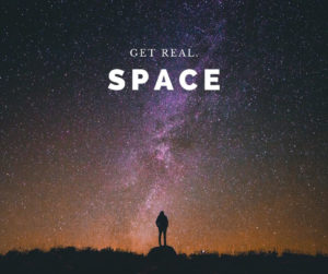 "A silhoutte of a person is standing against a galaxy. The title text is ""Get Real: Space"""